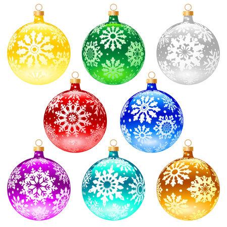 Christmas balls set on white background (isolated). Vector