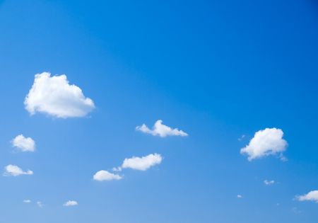 conglomeration: White clouds on blue sky.