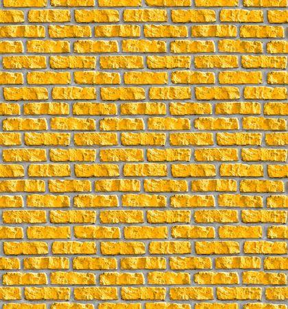 painted wall: Yellow brickwork seamless pattern. Stock Photo