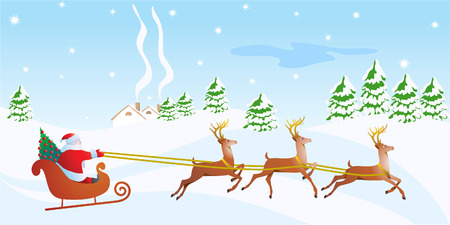 Happy New year card with Santa and deers. Vector