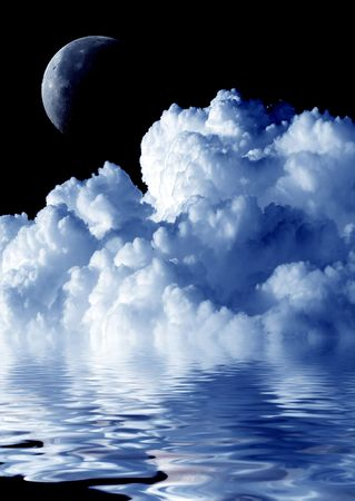 sky  dramatic: Cloud, moon and water.