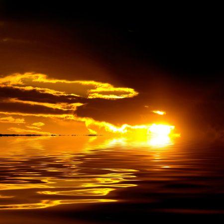 Marine landscape with dramatic sky. photo