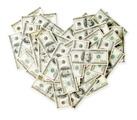 Dollars as heart on white background (isolated with path). photo
