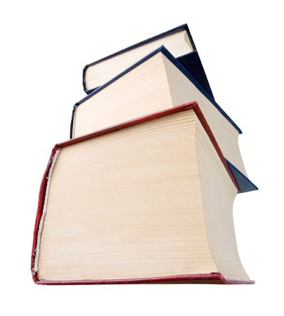 huge: Stack of books on white background (view from below).