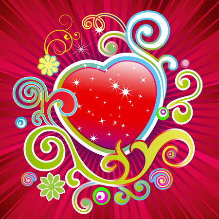 variegated: Abstract background with red heart.