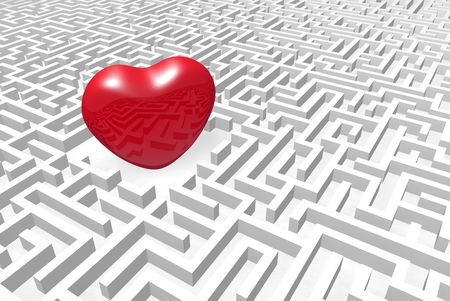 yearning: Red heart into labyrinth.