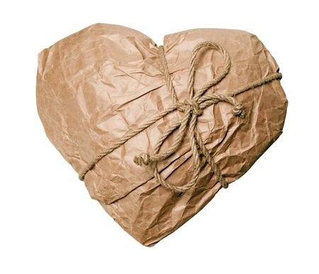 parcels: Wrapped heart on white background (isolated).