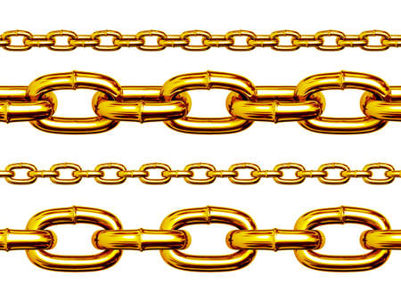 replicate: Seamless golden chains isolated over white background for continuous replicate. Stock Photo