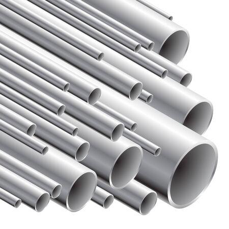 Stack of steel tubing (vector illustration).