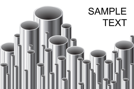 tubing: Stack of steel tubing (vector illustration).