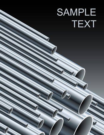Stack of steel tubing (illustration). Vector