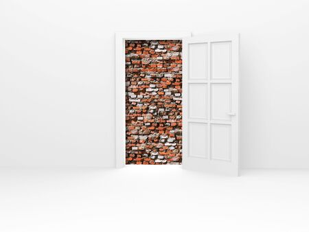 barrage: Opened door and red brickwall.