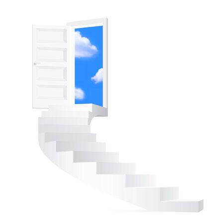 Trappen op sky - vector afbeelding.