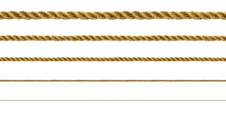 gold string: Seamless golden rope on white background (isolated). Stock Photo
