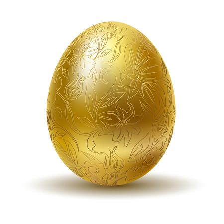 fiori pasqua: Golden egg on white background. Vettoriali