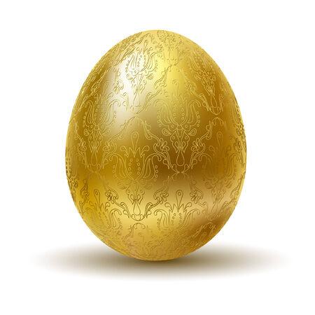 lustre: Golden egg on white background. Illustration