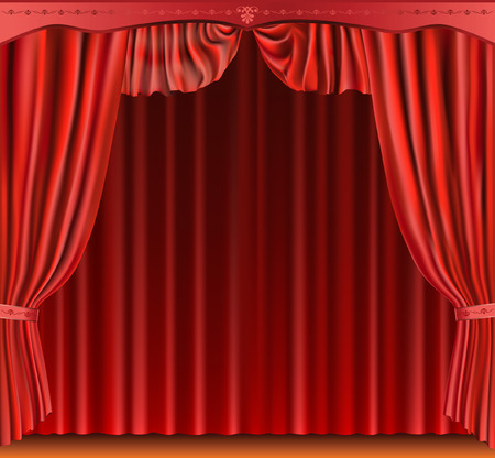 red curtain. Vector