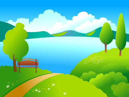 lake flowers: Rural landscape with green trees and blue like.