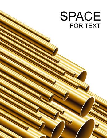 tubing: Stack of golden tubing Illustration