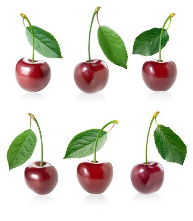 sweet and sour: Cherry (berry) set with leaf separately isolated on white background.
