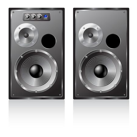 illustration of a pair loudspeakers.  Vector