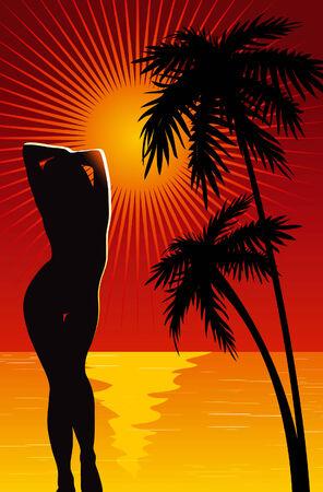 Girl silhouette on beach. Vector
