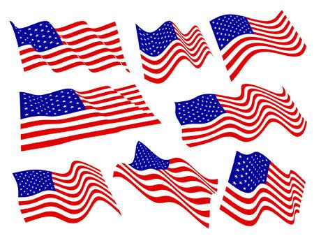 american flags: American banderas ondeantes conjunto.