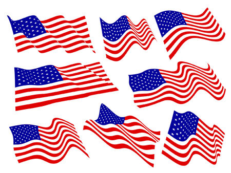 American flags waving set. Stock Vector - 7140234