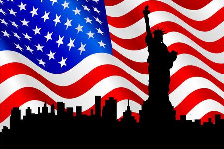 bandera americana: Estatua de la silueta de la libertad en el fondo de la bandera americana.
