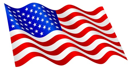 united nations: Bandera estadounidense ondeando.