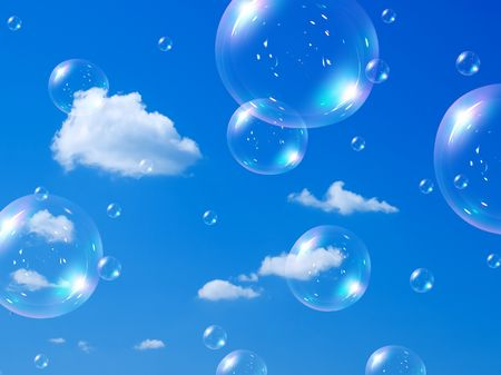 burbujas de jabon: Pompas de jabón sobre fondo de cielo azul.  Foto de archivo