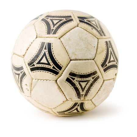 Old soccerball on white background (isolated with clipping path). photo