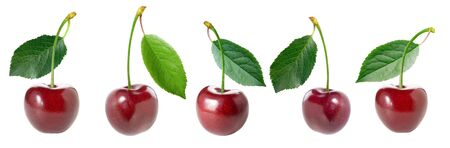 Red cherry with green leaf set on white background isolated. Banco de Imagens