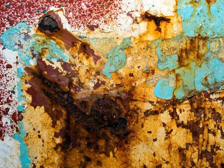 metal corrosion: Rusted painted metal surface background. Stock Photo