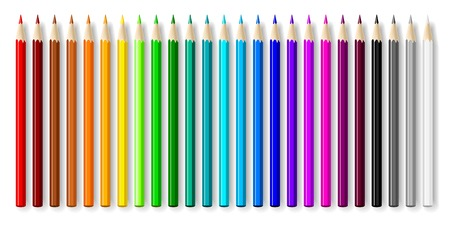 Varicolored color pencils set isolated on white background. Vector