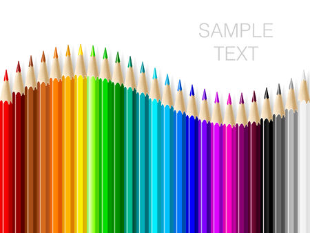 Varicolored color pencils set on white background with space for text. Vector