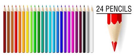 24 realistic   pencils set isolated on white background. Vector