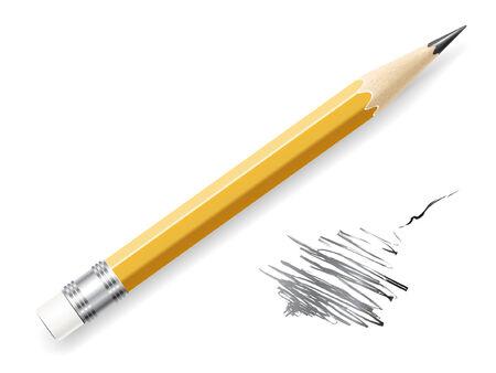 pencil eraser:  lead pencil on white background.