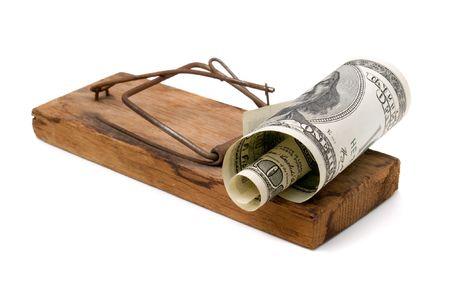mousetrap: Mousetrap con dollaro isolato su sfondo bianco.