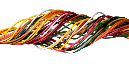 Variegated wire isolated on white background. photo