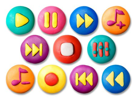 Childs plasticine colorful media buttons set isolated on white background. photo