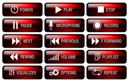 pause button: Rectangle media player buttons set with key-top marking.
