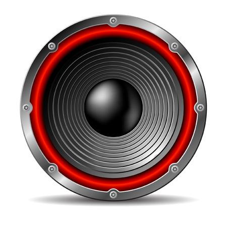 electronic music: Altoparlante audio su sfondo bianco.