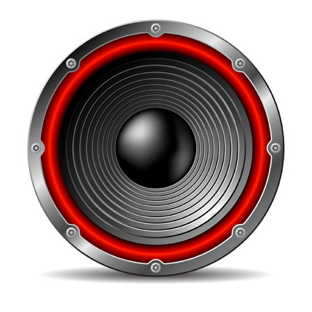 loudspeaker: Audio speaker on white background. Illustration