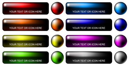 variegated: Variegated blank colorful buttons set on white background. Illustration