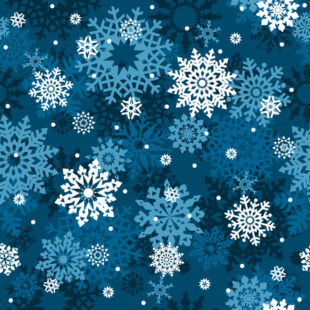 replicate: White snowflakes on blue background seamless pattern - background for continuous replicate.   Illustration