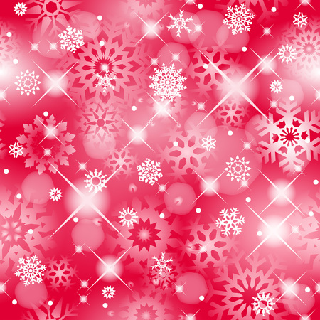 Christmas seamless red background with sparkling white snowflakes -  background for continuous replicate.   Vector