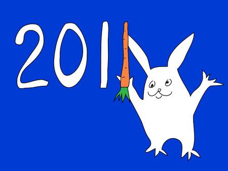 jest: Biglietto di auguri di coniglio anno 2011. Vettoriali