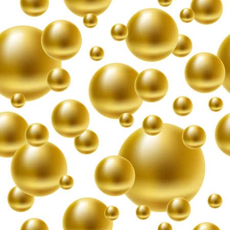Vector realistic golden balls seamless background. Illustration