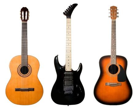 guitarra acustica: Guitarras establecer aislado sobre fondo blanco.